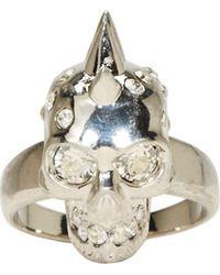 Alexander McQueen | Metallic Silver Spiked Skull Ring | Lyst