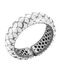 John Hardy | Metallic Naga Silver Enamel Scale Cuff With White Enamel | Lyst