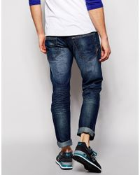 Solid | Blue Solid Mid Wash Jeans In Straight Fit for Men | Lyst