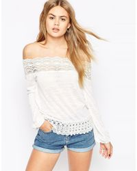 ASOS | Natural Top With Cotton Lace Trim Off Shoulder | Lyst