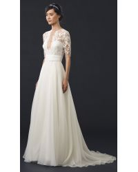 Reem Acra - Natural She's Mine! Embroidered Gown  - Lyst
