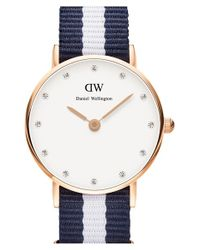Daniel Wellington - Blue 'classy Glasgow' Crystal Index Nato Strap Watch - Lyst