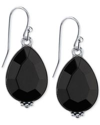 2028 | Metallic Silver-Tone Black Teardrop Earrings | Lyst