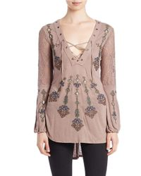 Free People | Brown Charlie Lace-up Tunic | Lyst