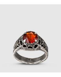 Gucci | Metallic Ring With Orange Glass Stone for Men | Lyst