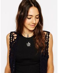 ASOS | Black Multi Row Choker 90'S Hamsa Charm Necklace | Lyst