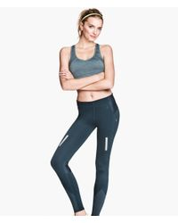 H&M | Blue Running Tights | Lyst