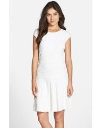 Julia Jordan | White Wavy Textured Knit Fit & Flare Dress | Lyst