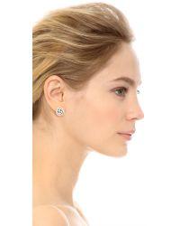 Oscar de la Renta | Wire Rose Button Earrings - White | Lyst