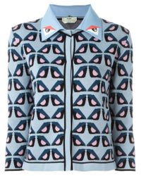 Fendi | Blue 'bag Bugs' Motif Cardigan | Lyst