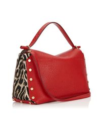 Jimmy Choo | Lockett/m Red Grainy Leather And Snow Leopard Print Pony Handbag | Lyst