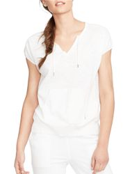 Lauren by Ralph Lauren | White Short-sleeved Cotton Sweater | Lyst