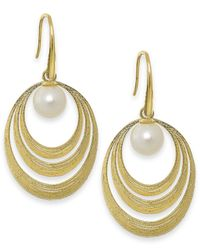 Macy's - Orange Cultured Freshwater Pearl Circle Earrings In 18k Gold Over Sterling Silver (7mm) - Lyst