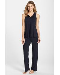 Midnight By Carole Hochman - Blue Charmeuse Trim Jersey Pajamas - Lyst
