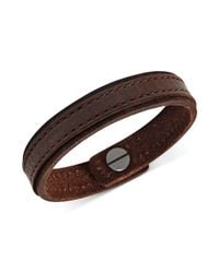 Fossil - Mens Classic Brown Leather Bracelet for Men - Lyst