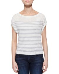 Rag & Bone - Gray The Christa Striped Slub Top - Lyst