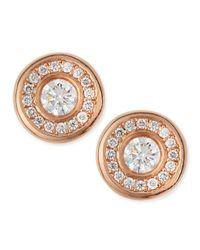 Roberto Coin - Metallic 18-karat Rose Gold Diamond Stud Earrings - Lyst