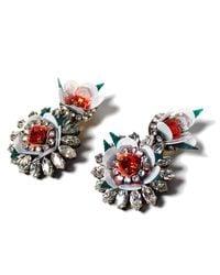 Shourouk | White Flower Earrings | Lyst