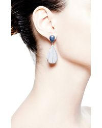 Nina Runsdorf - Blue Chalcedony and Blue Sapphire Earrings - Lyst