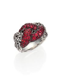 John Hardy | Classic Chain Red Sapphire Sterling Silver Braided Ring | Lyst