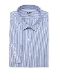 DKNY - Blue & White Stripe Slim Fit Dress Shirt for Men - Lyst