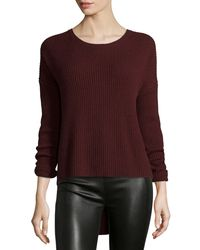 VINCE | Red Ribbed Crewneck Sweater | Lyst