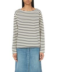 M.i.h Jeans - Natural Striped Cotton-jersey Top - Lyst