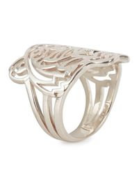 KENZO - Metallic Silver Tone Cut-Out Tiger Ring - Lyst
