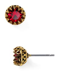 Lauren by Ralph Lauren | Red Faceted Stone Stud Earrings | Lyst