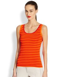 Akris Punto | Orange Knit Striped Tank | Lyst