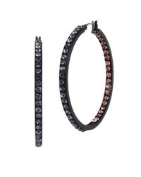 Betsey Johnson | Purple Panther Pave Inside Out Hoop Earrings- 2in | Lyst