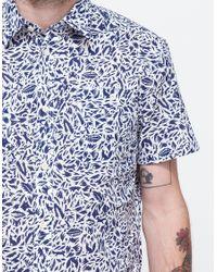 Maison Kitsuné - Blue Jungle Print Short Sleeve Shirt for Men - Lyst