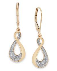 Macy's - Metallic Diamond Infinity Drop Earrings In 10k Gold (1/5 Ct. T.w.) - Lyst