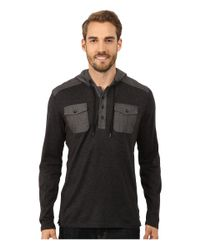 DKNY | Gray Long Sleeve Loose Knit Jasper Jersey/chambray Mix Hooded Henley for Men | Lyst
