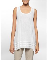 Calvin Klein | White Label Solid Raw Edge Layered Hem Sleeveless Tunic | Lyst