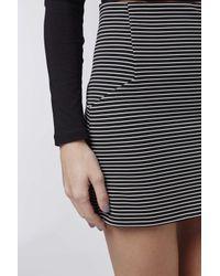 TOPSHOP | Black Petite Stripe Mini Skirt | Lyst
