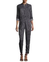 Halston | Gray Long-sleeve Slim-leg Jumpsuit | Lyst