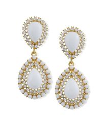 Kenneth Jay Lane | Metallic White Teardrop Clip Earring | Lyst