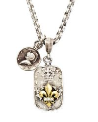 Roman Paul | Metallic Fleur De Lis Emblem Diamond, Sapphire And Ruby Necklace for Men | Lyst