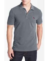 Burberry Brit | Gray 'cassius Metal' Trim Fit Pique Polo for Men | Lyst