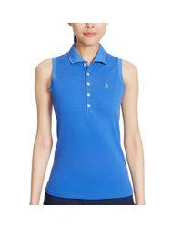 Ralph Lauren Golf - Blue Sleeveless Cotton Mesh Polo - Lyst