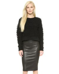 Helmut Lang | Black Boucle Cropped Sweater | Lyst