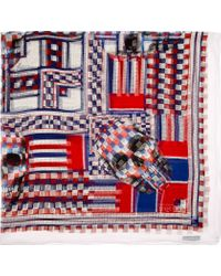Alexander McQueen - Red and Blue Chiffon Beaded Skull Print Scarf - Lyst