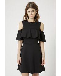 TOPSHOP - Black Frill Cold Shoulder Dress - Lyst