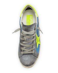 Golden Goose Deluxe Brand - Blue Star-embellished Leather Sneaker - Lyst