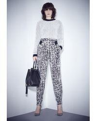 MILLY - Black Scribble Print Cady Origami Pant - Lyst
