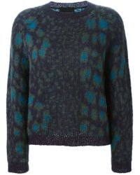 Erika Cavallini Semi Couture - Blue Crew Neck Knit Sweater - Lyst