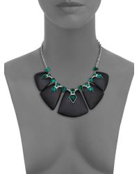 Alexis Bittar - Green Deco Lucite & Crystal Kite Baguette Statement Bib Necklace - Lyst