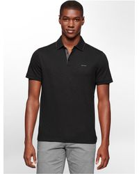 Calvin Klein | Black White Label Classic Fit Cotton Slub Polo Shirt for Men | Lyst