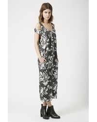 TOPSHOP - Blue Silk Geo Rose Print Dress By Boutique - Lyst